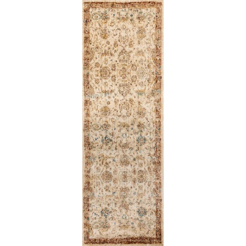 Traditional Antique Ivory/ Rust Floral Distressed Runner Rug - 2'7 x 10'