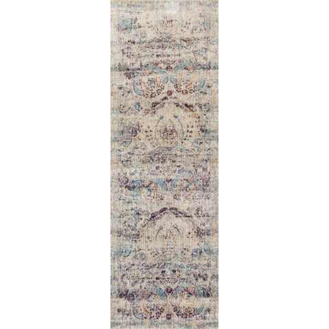 Traditional Silver/ Plum Damask Distressed Runner Rug - 2'7 x 12'