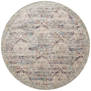 "Traditional Silver/ Plum Damask Distressed Round Rug - 5'3"" x 5'3"" Round"