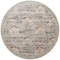 Traditional Silver/ Plum Damask Distressed Round Rug - 5'3 x 5'3