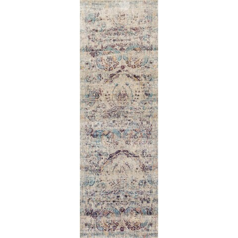 Traditional Silver/ Plum Damask Distressed Runner Rug - 2'7 x 10'