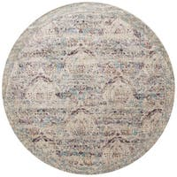 Traditional Silver/ Plum Damask Distressed Round Rug - 9'6 x 9'6