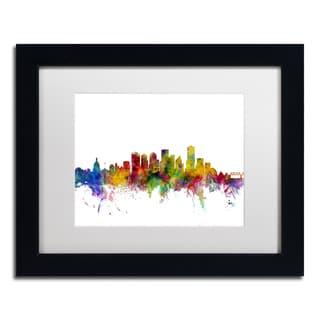 Michael Tompsett 'Edmonton Canada Skyline' White Matte, Black Framed Canvas Wall Art