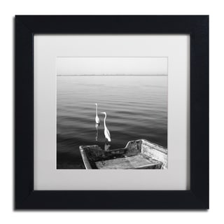 Moises Levy '2 Herons Leaving' White Matte, Black Framed Canvas Wall Art