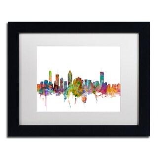 Michael Tompsett 'Montreal Canada Skyline' White Matte, Black Framed Canvas Wall Art