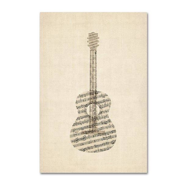 michael tompsett 39 acoustic guitar old sheet music 39 canvas wall art free shipping on orders. Black Bedroom Furniture Sets. Home Design Ideas