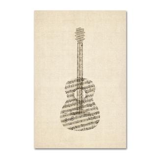 Michael Tompsett 'Acoustic Guitar Old Sheet Music' Canvas Wall Art