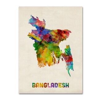 Michael Tompsett 'Bangladesh Watercolor Map' Canvas Wall Art
