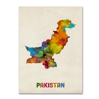 Michael Tompsett 'Pakistan Watercolor Map' Canvas Wall Art