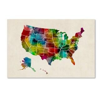 Michael Tompsett 'United States Watercolor Map 2' Canvas Wall Art
