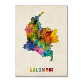 Michael Tompsett 'Colombia Watercolor Map' Canvas Wall Art