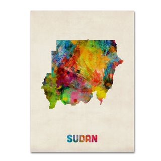 Michael Tompsett 'Sudan Watercolor Map' Canvas Wall Art