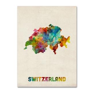 Michael Tompsett 'Switzerland Watercolor Map' Canvas Wall Art