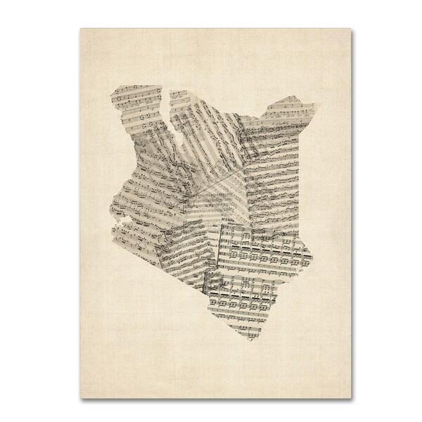 Michael Tompsett 'Old Sheet Music Map of Kenya' Canvas Wall Art - Multi