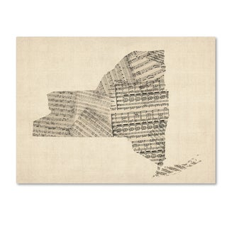 Michael Tompsett 'Old Sheet Music Map of New York State' Canvas Wall Art