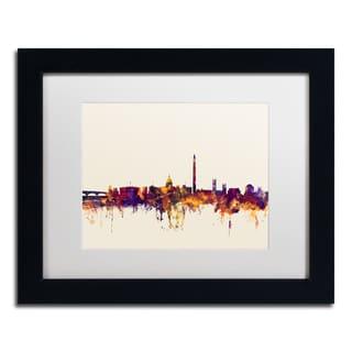 Michael Tompsett 'Washington DC Skyline V' White Matte, Black Framed Canvas Wall Art