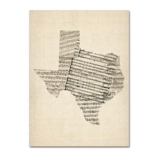 Michael Tompsett 'Old Sheet Music Map of Texas' Canvas Wall Art