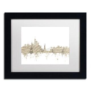 Michael Tompsett 'New York Skyline Sheet Music' White Matte, Black Framed Canvas Wall Art
