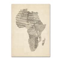 Michael Tompsett 'Old Sheet Music Map of Africa' Canvas Wall Art - Multi