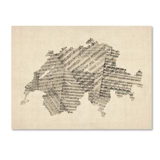 Michael Tompsett 'Old Sheet Music Map of Switzerland' Canvas Wall Art