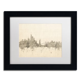 Michael Tompsett 'New York Skyline Sheet Music II' White Matte, Black Framed Canvas Wall Art