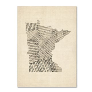 Michael Tompsett 'Old Sheet Music Map of Minnesota' Canvas Wall Art