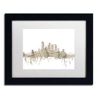Michael Tompsett 'Pittsburgh Skyline Sheet Music' White Matte, Black Framed Canvas Wall Art