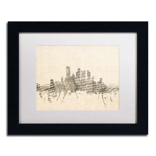 Michael Tompsett 'Pittsburgh Skyline Sheet Music II' White Matte, Black Framed Canvas Wall Art