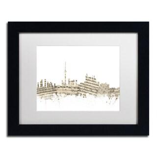 Michael Tompsett 'Toronto Skyline Sheet Music II' White Matte, Black Framed Canvas Wall Art