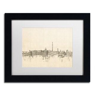 Michael Tompsett 'Washington DC Skyline Sheet Music' White Matte, Black Framed Canvas Wall Art