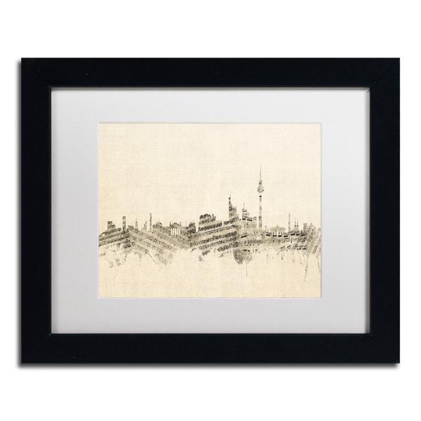 Michael Tompsett 'Berlin Skyline Sheet Music' White Matte, Black Framed Canvas Wall Art