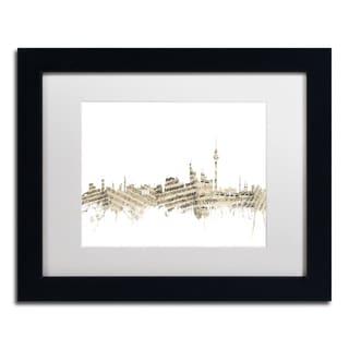 Michael Tompsett 'Berlin Skyline Sheet Music II' White Matte, Black Framed Canvas Wall Art