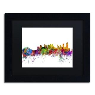 Michael Tompsett 'Calgary Canada Skyline' Black Matte, Black Framed Canvas Wall Art