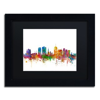 Michael Tompsett 'Christchurch Skyline II' Black Matte, Black Framed Canvas Wall Art