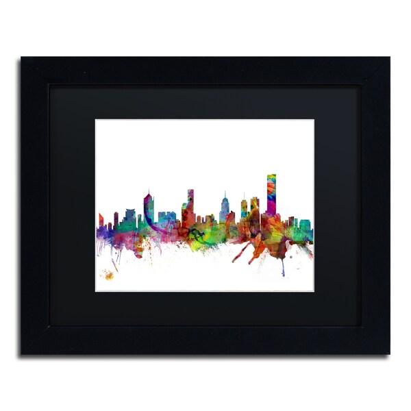 Michael Tompsett 'Melbourne Skyline II' Black Matte, Black Framed Canvas Wall Art