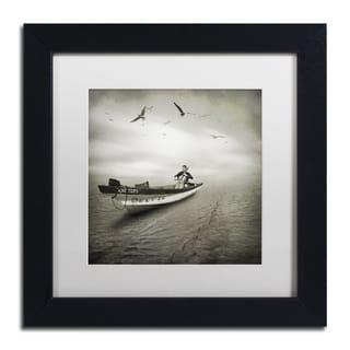 Moises Levy 'Cello Sophia' White Matte, Black Framed Canvas Wall Art