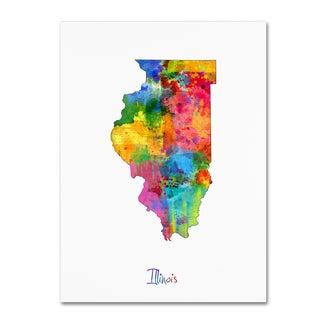 Michael Tompsett 'Illinois Map' Canvas Wall Art