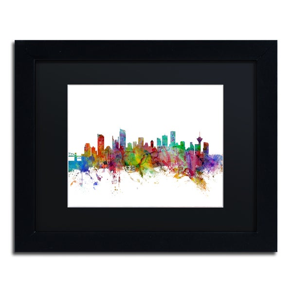 Michael Tompsett 'Vancouver Canada Skyline' Black Matte, Black Framed Canvas Wall Art