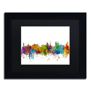 Michael Tompsett 'Victoria Canada Skyline II' Black Matte, Black Framed Canvas Wall Art