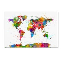 Design art bright world map canvas art print free shipping today michael tompsett map of the world watercolor canvas wall art gumiabroncs Gallery