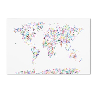 Michael Tompsett 'Music Notes Map of the World' Canvas Wall Art