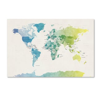 Michael Tompsett 'Watercolour Political Map of the World 2' Canvas Wall Art