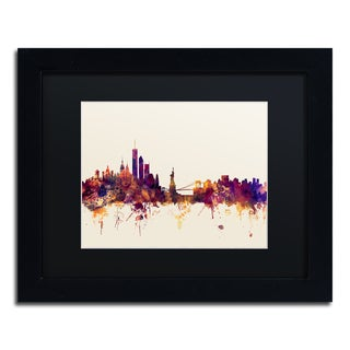 Michael Tompsett 'New York Skyline IX' Black Matte, Black Framed Canvas Wall Art