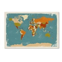 Oliver gal upside down map of the world noir framed art print michael tompsett retro political map of the world 3 canvas gumiabroncs Image collections