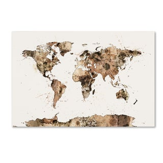 Michael Tompsett 'Map of the World Sepia Watercolor' Canvas Wall Art