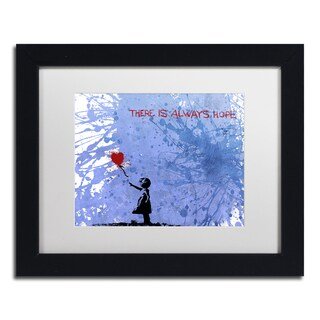 Banksy 'There Is Always Hope' White Matte, Black Framed Canvas Wall Art