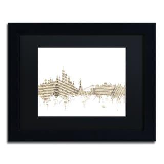 Michael Tompsett 'New York Skyline Sheet Music' Black Matte, Black Framed Canvas Wall Art