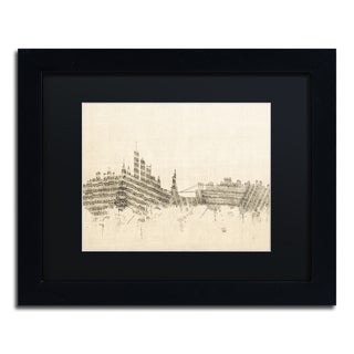 Michael Tompsett 'New York Skyline Sheet Music II' Black Matte, Black Framed Canvas Wall Art