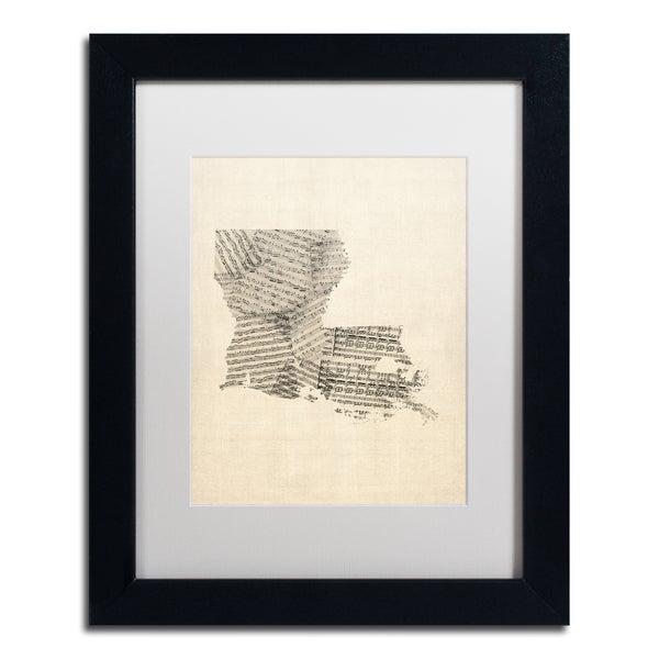 Michael Tompsett 'Old Sheet Music Map of Louisiana' White Matte, Black Framed Canvas Wall Art