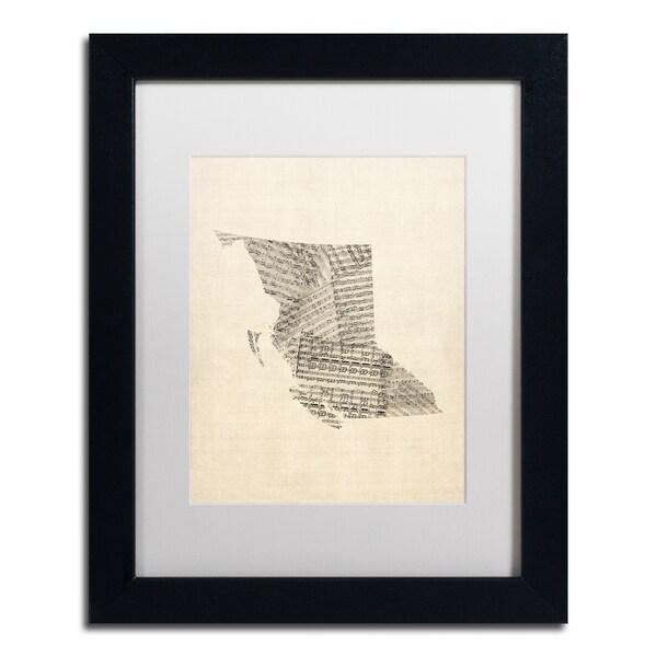Michael Tompsett 'Sheet Music Map British Columbia' White Matte, Black Framed Canvas Wall Art